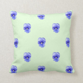 Blue Pansy on Mint - Throw Pillow Cushion
