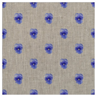 Blue Pansy on Natural Linen