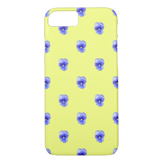 Blue Pansy on Yellow - Phone Case
