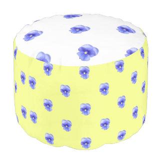 Blue Pansy on Yellow - Pouf Round Pouffe