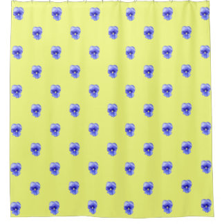 Blue Pansy on Yellow - shower curtain