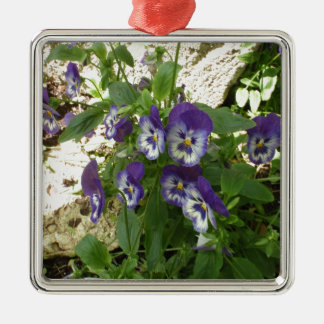 Blue Pansy Silver-Colored Square Decoration