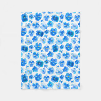 Blue pansy watercolor art blanket