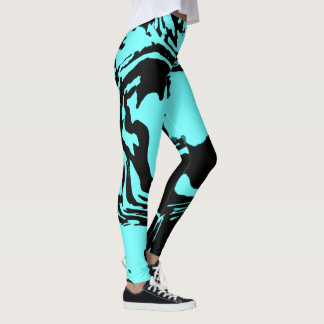Blue Panther. Blue Black Abstraction Leggings