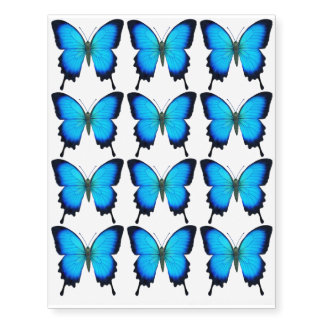 Blue Papilio Ulysses Butterfly Temporary Tattoo