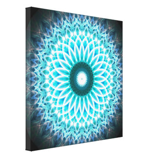 Blue Paradise Portal Mandala Canvas Print