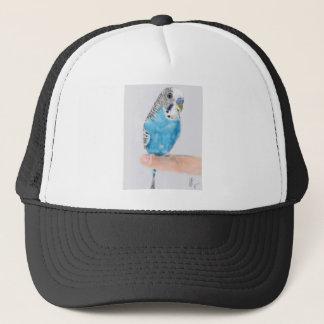 Blue parakeet trucker hat