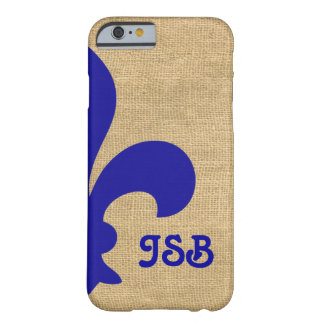 Blue Parisian Moods Fleur de Lys Monogram Barely There iPhone 6 Case