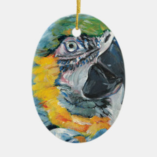 Blue Parrot Ceramic Ornament