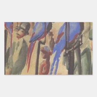 Blue Parrots by August Macke Rectangular Sticker