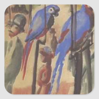 Blue Parrots by August Macke Square Sticker