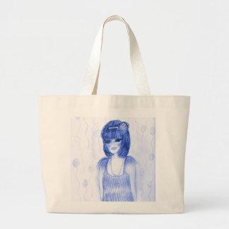 Blue Party Girl Flapper Jumbo Tote Bag