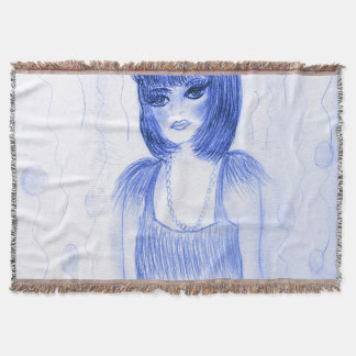Blue Party Girl Flapper Throw Blanket