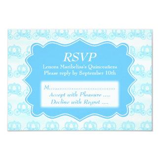 Blue Pastel Carriages Quinceanera 9 Cm X 13 Cm Invitation Card