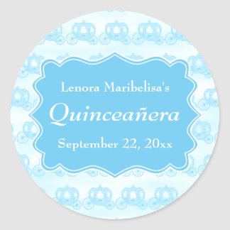 Blue Pastel Carriages Quinceanera Classic Round Sticker