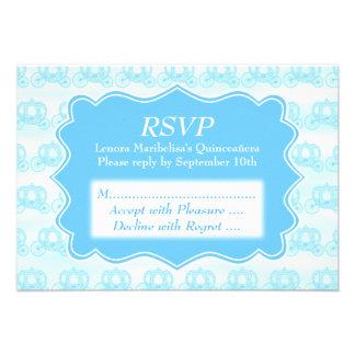 Blue Pastel Carriages Quinceanera Invitation