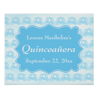Blue Pastel Carriages Quinceanera Poster