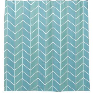 Blue Pastel Chevron Modern Two Tone Pattern Shower Curtain