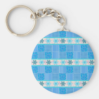 Blue patchwork basic round button key ring