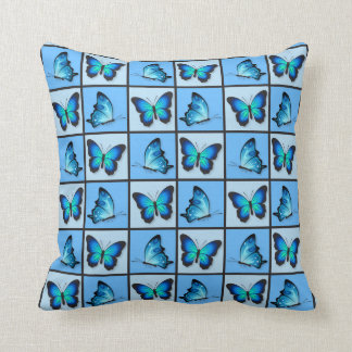Blue Patchwork Butterflies Cushion