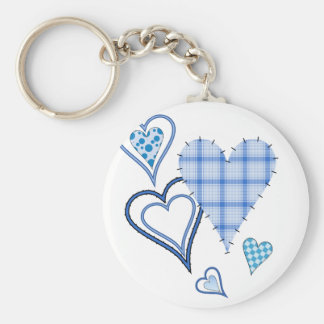 Blue Patchwork Hearts Basic Keychain