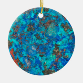 Blue patterened Shattuckite Ceramic Ornament