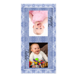 Blue Pattern Bride & Groom Photo Table Number Card Personalized Photo Card