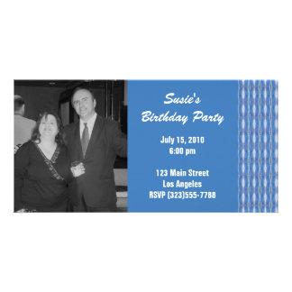 blue pattern invitation photo card