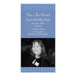 blue pattern invitation photo cards