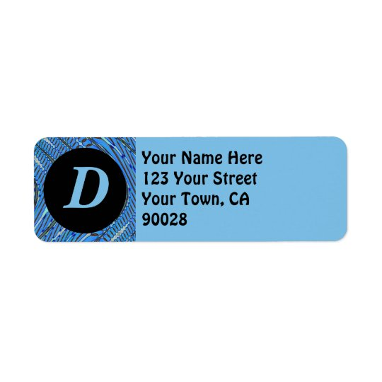 blue pattern monogram return address label