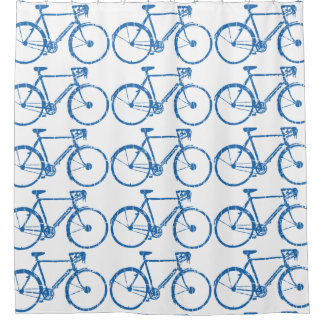 blue pattern of bicycles shower curtain
