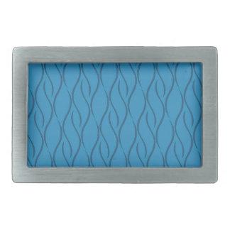 Blue pattern rectangular belt buckles