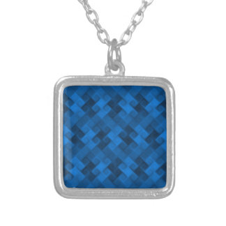 Blue Pattern Silver Plated Necklace
