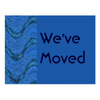 blue pattern We ve Moved Postcards