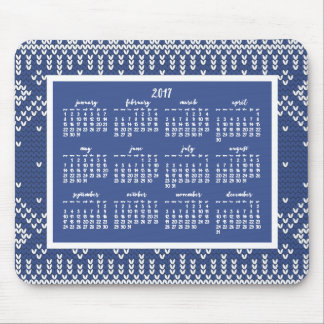 Blue Pattern Yearly 2017 Calendar Mouse Pads Blue