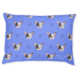 Blue Paw French Bulldog Plush Dog Bed