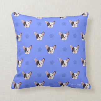 Blue Paw French Bulldog Throw Pillow