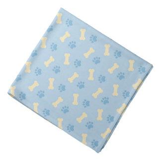 Blue Paw Print Bone Pattern Bandana