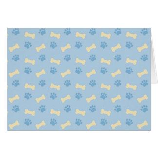 Blue Paw Print Bone Pattern Card