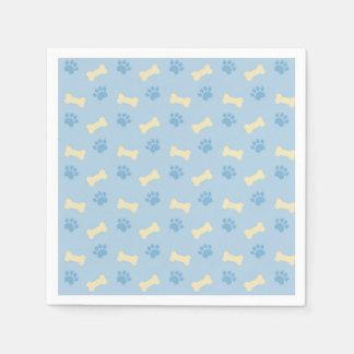 Blue Paw Print Bone Pattern Disposable Serviette