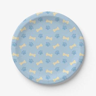 Blue Paw Print Bone Pattern Paper Plate