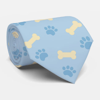 Blue Paw Print Bone Pattern Tie