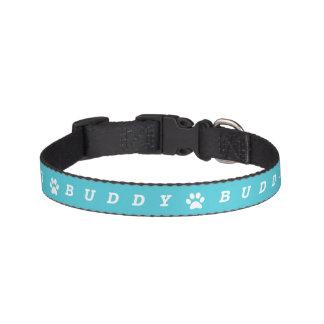 Blue Paw Print Name Pet Collar