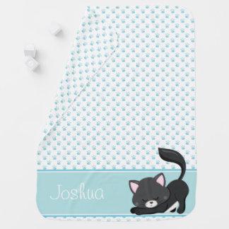 Blue Paw Print Pattern w/ Black Cat | Personalized Baby Blanket
