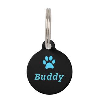 Blue Paw Print Pet Tag