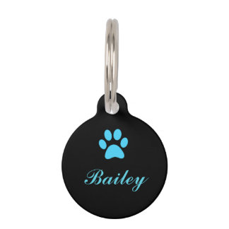 Blue Paw Print Pet Tag