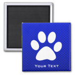 Blue Paw Print Square Magnet