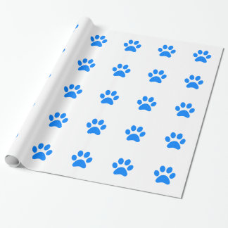 Blue Paw Print Wrapping Paper