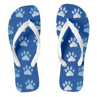 Blue Paw Prints Flip Flops - Cat Dog Theme Thongs
