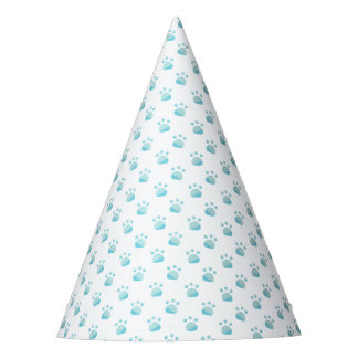 Blue Paw Prints Pattern Party Hat